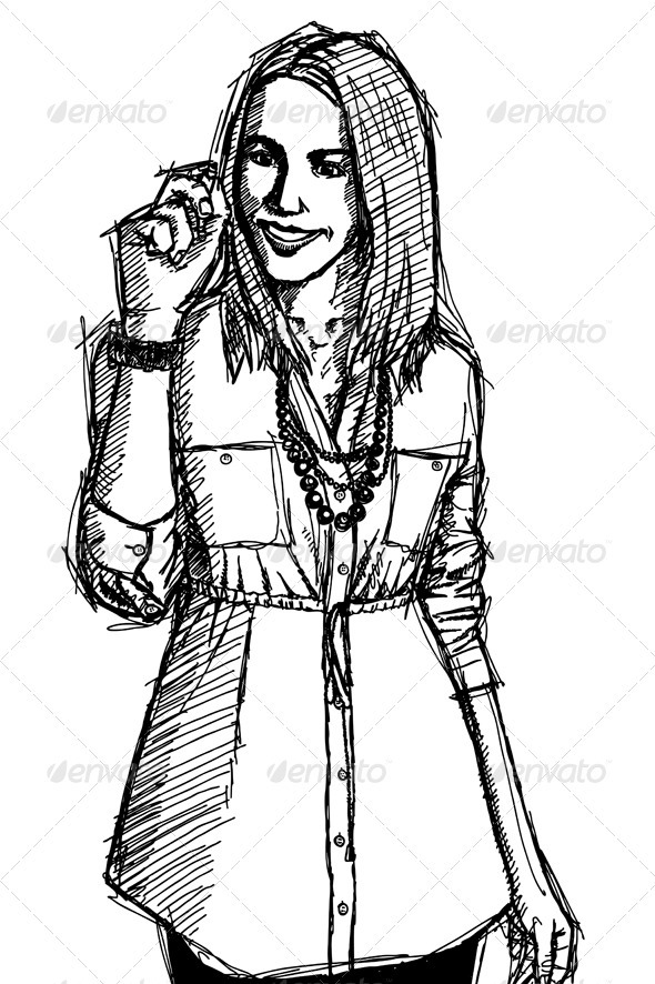 590x886 Sketch Business Woman Writting Something Business Women