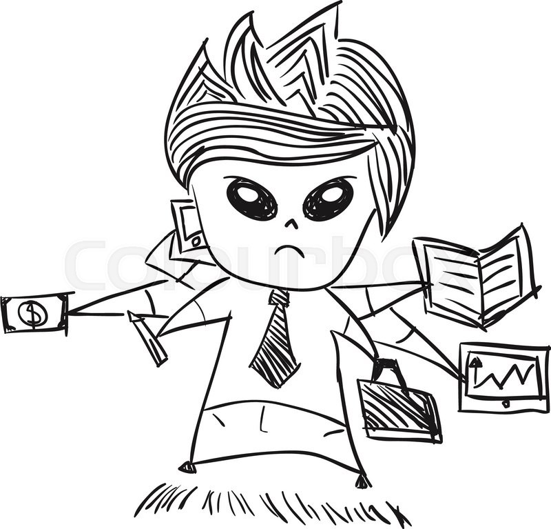 800x767 Businessman With Cute Characters Businessman, Drawing By Hand