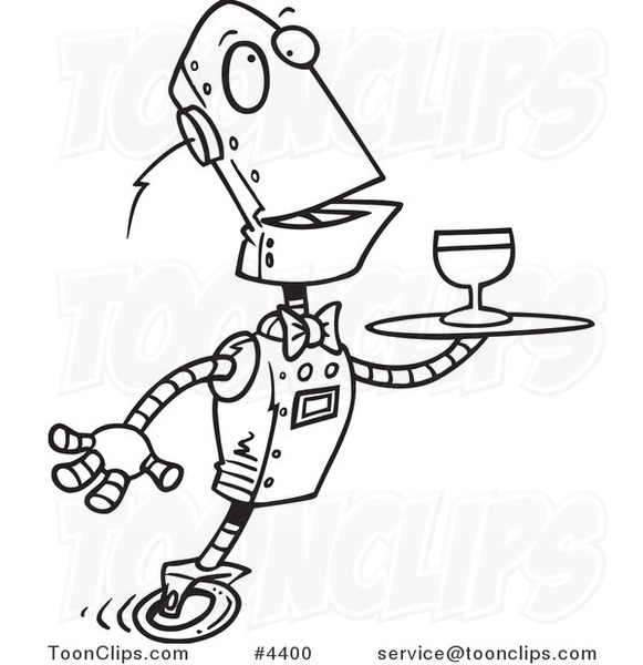 581x600 Cartoon Black And White Line Drawing Of A Butler Robot Serving