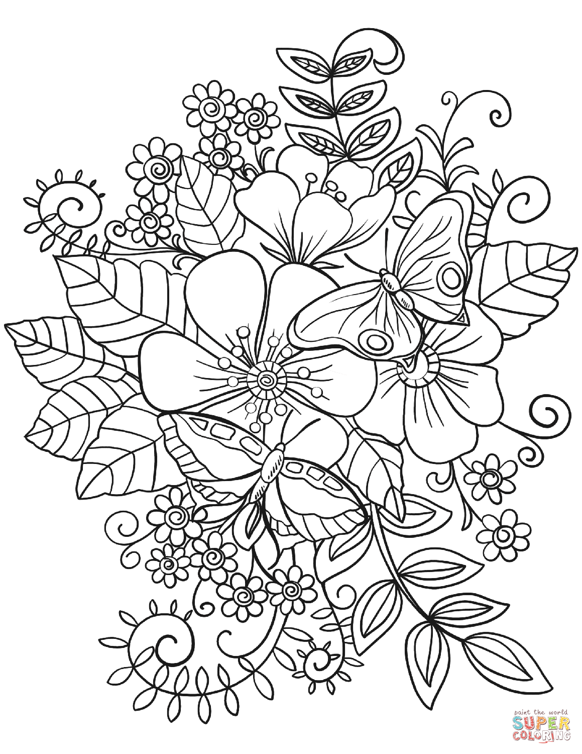 Butterflies And Flowers Drawing at GetDrawings.com | Free for ...
