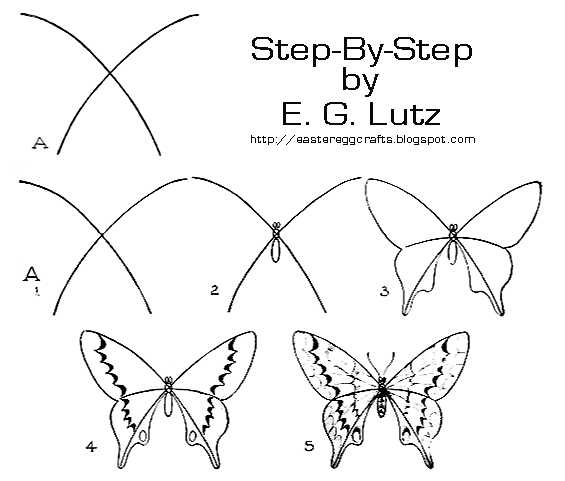 565x481 Drawing Butterflies By Progressive Steps Easter Egg Crafts