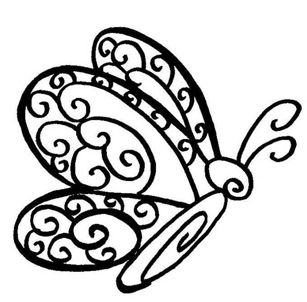 600x589 Lovely Butterfly Drawing In Classic Style Coloring Page