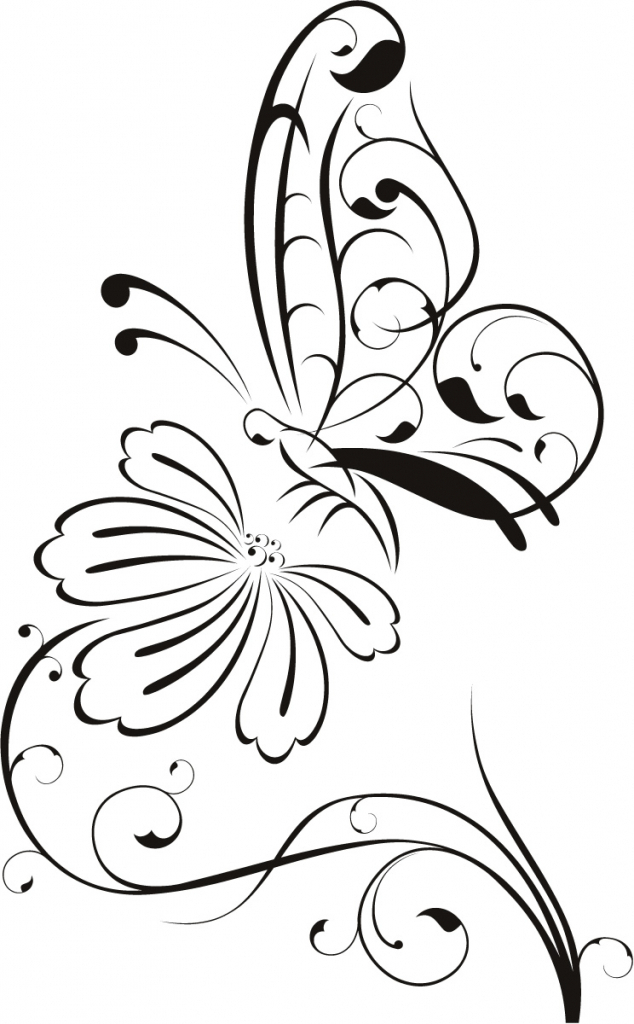 634x1024 Butterfly On Flower Drawing Butterfly And Flower Drawing Clipart