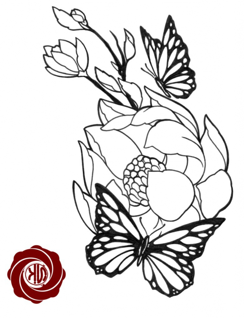 787x1024 Butterfly On Flower Drawing Flower Tattoo Sketch With Butterfly