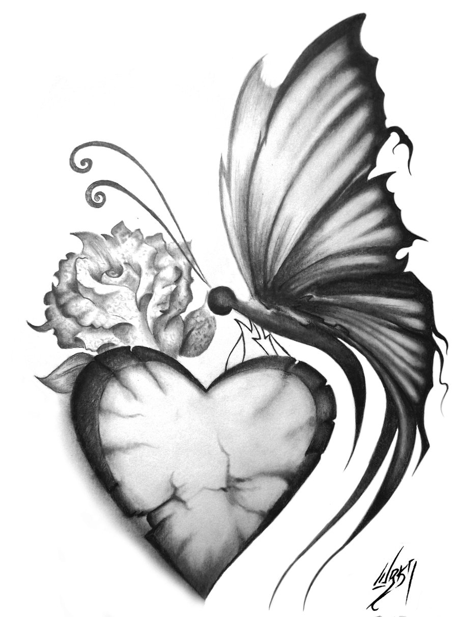 900x1212 Butterfly On Flower Drawing In Pencil