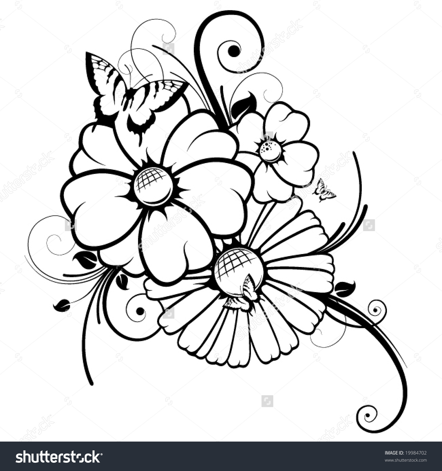 1500x1600 Drawing Flowers And Butterflies Flowers For Flower And Butterfly