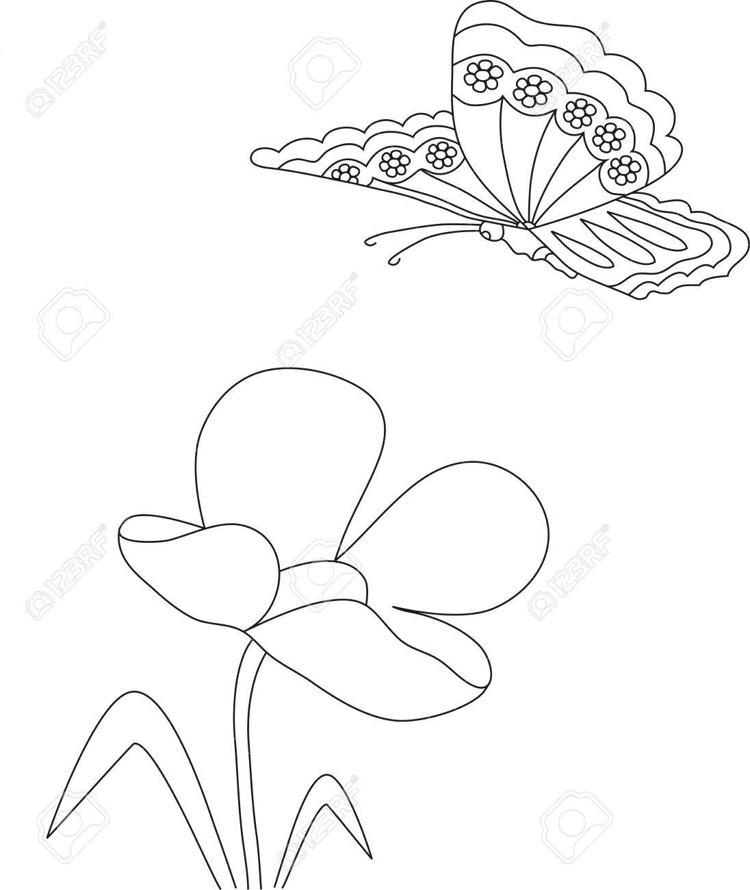 1096x1300 Manual Pencil Drawing Of A Tulip Flower And Butterfly, Coloring