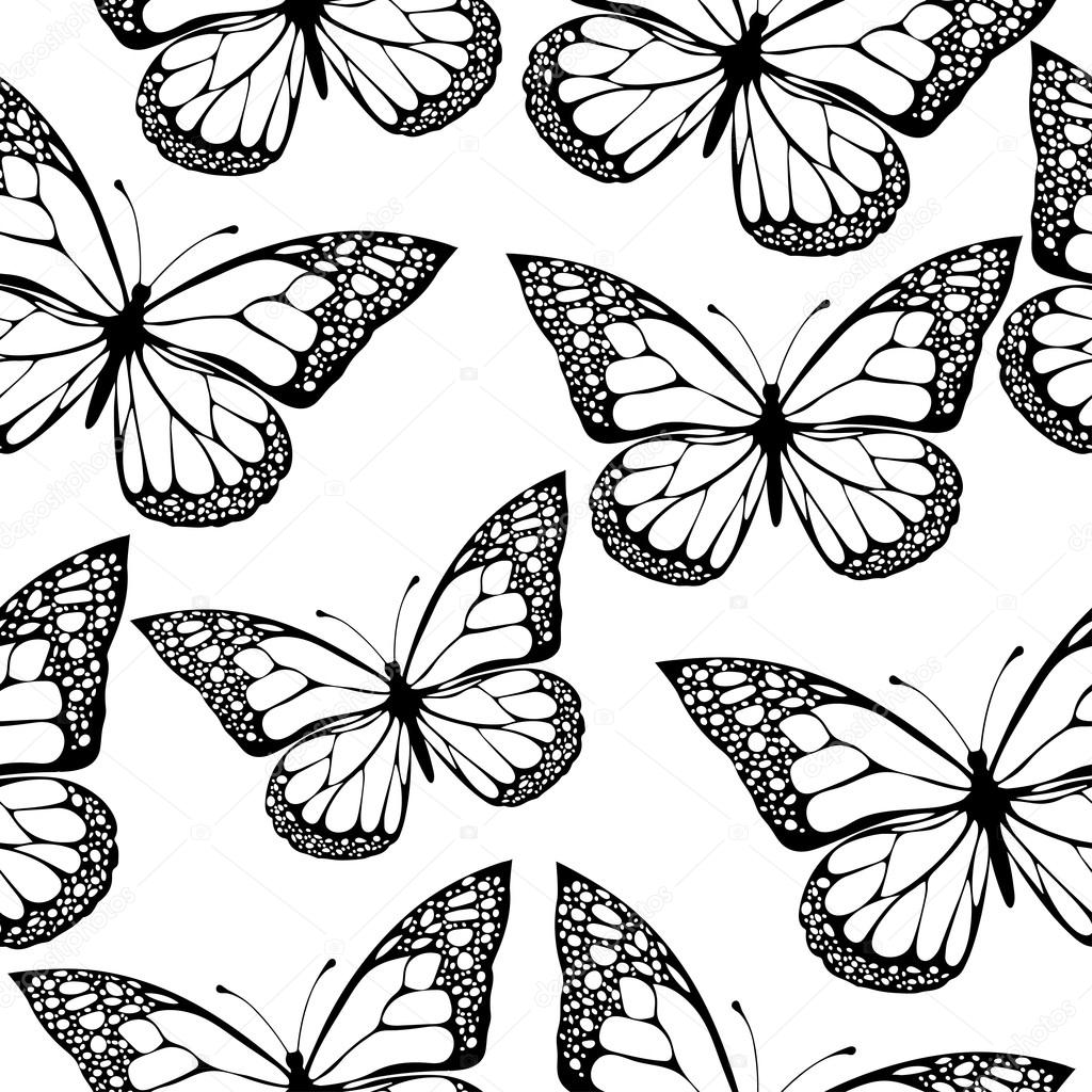 Butterfly Black And White Drawing at GetDrawings.com | Free for ...