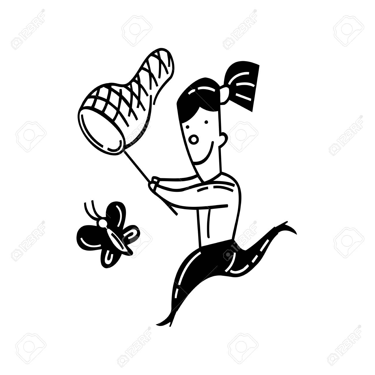 1300x1300 Cute Little Girl Catching Butterfly. Outlined Cartoon. Drawing