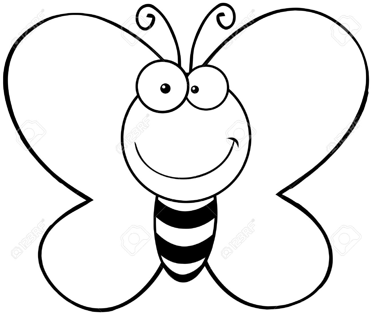 1300x1102 Outlined Smiling Butterfly Cartoon Mascot Character Royalty Free