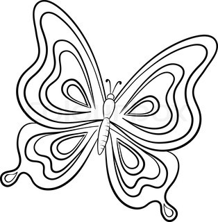 314x320 Simple Black And White Butterfly Line Drawings