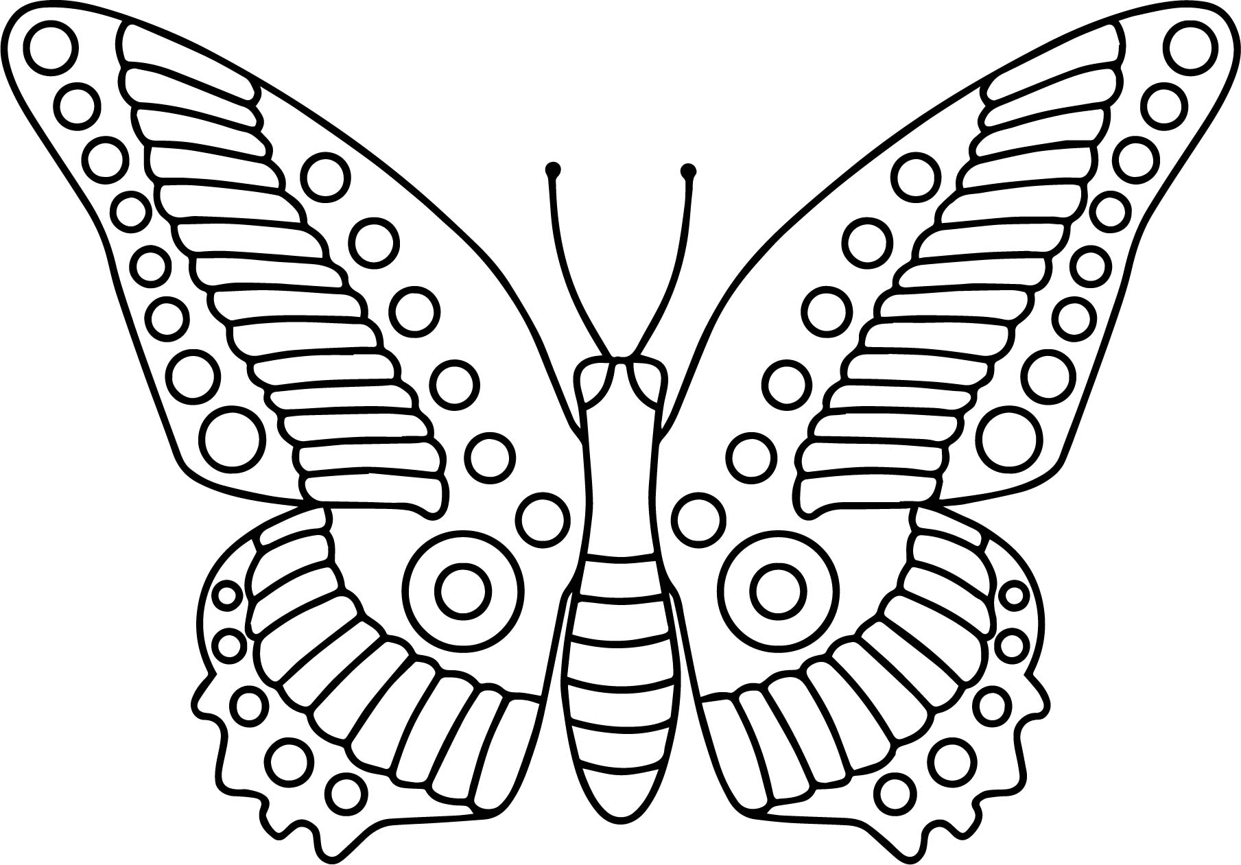 1809x1261 Butterfly Cartoon Funny Coloring Page Wecoloringpage