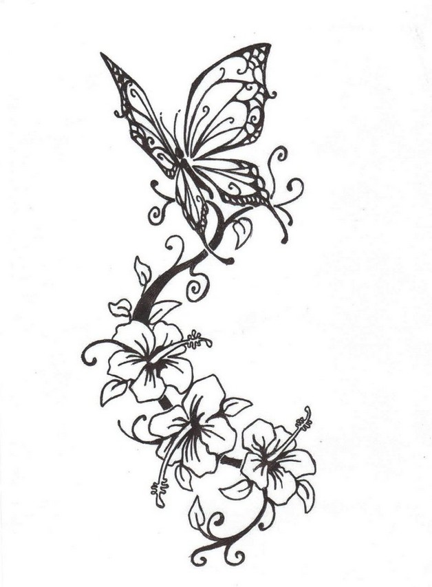 628x853 Butterfly On Flowers Tattoo Design
