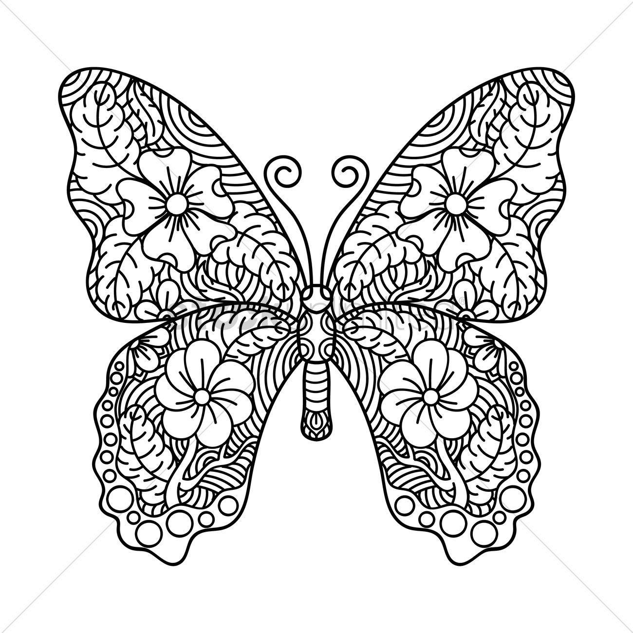 1300x1300 Intricate Butterfly Design Vector Image