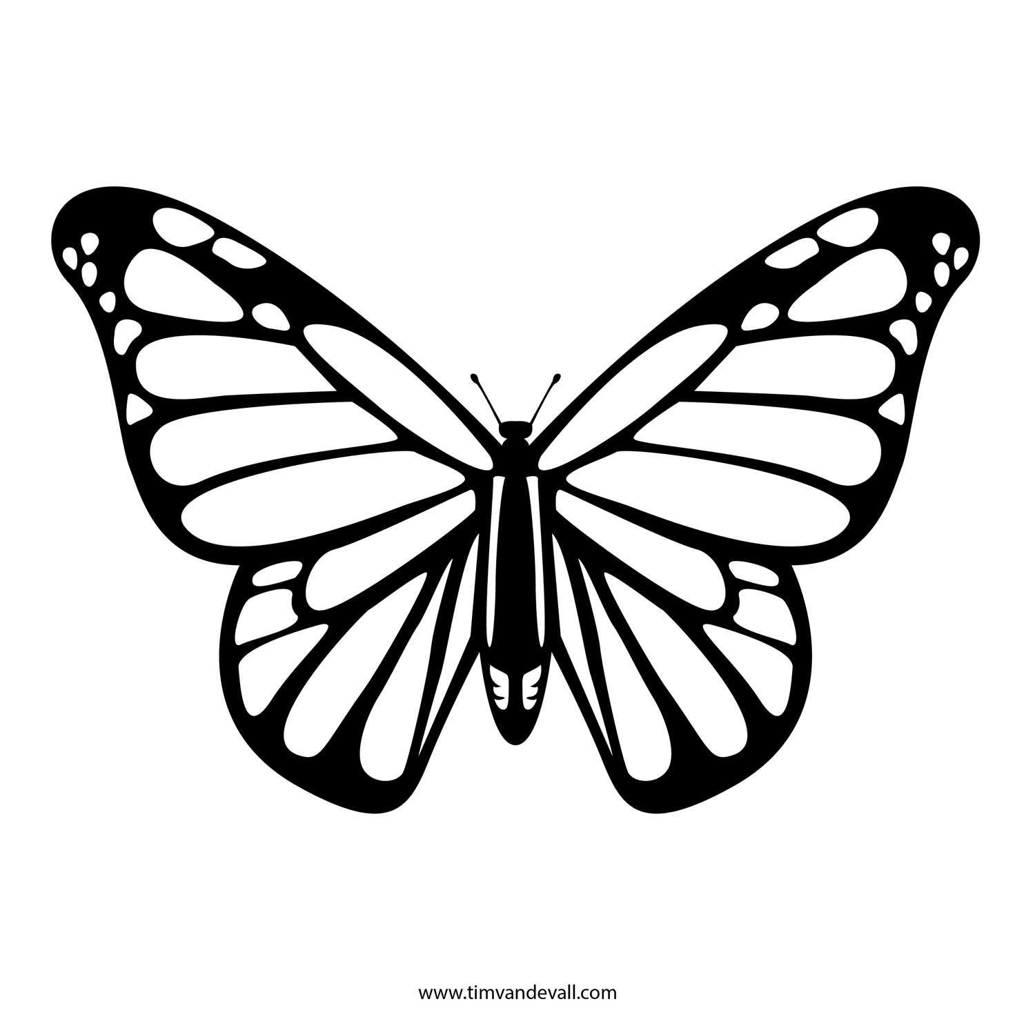 1500x1500 Monarch Butterfly Line Drawing Flying Monarch Butterfly Tattoo