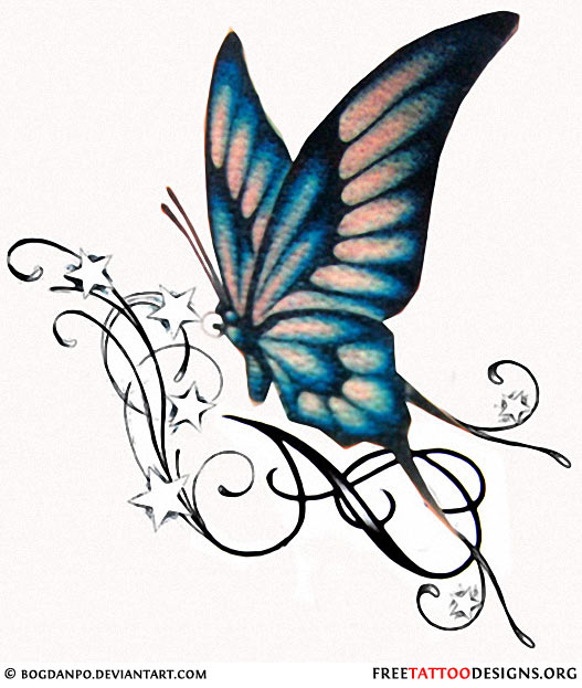 527x623 Swirl Stars And Blue Butterfly Tattoo Design