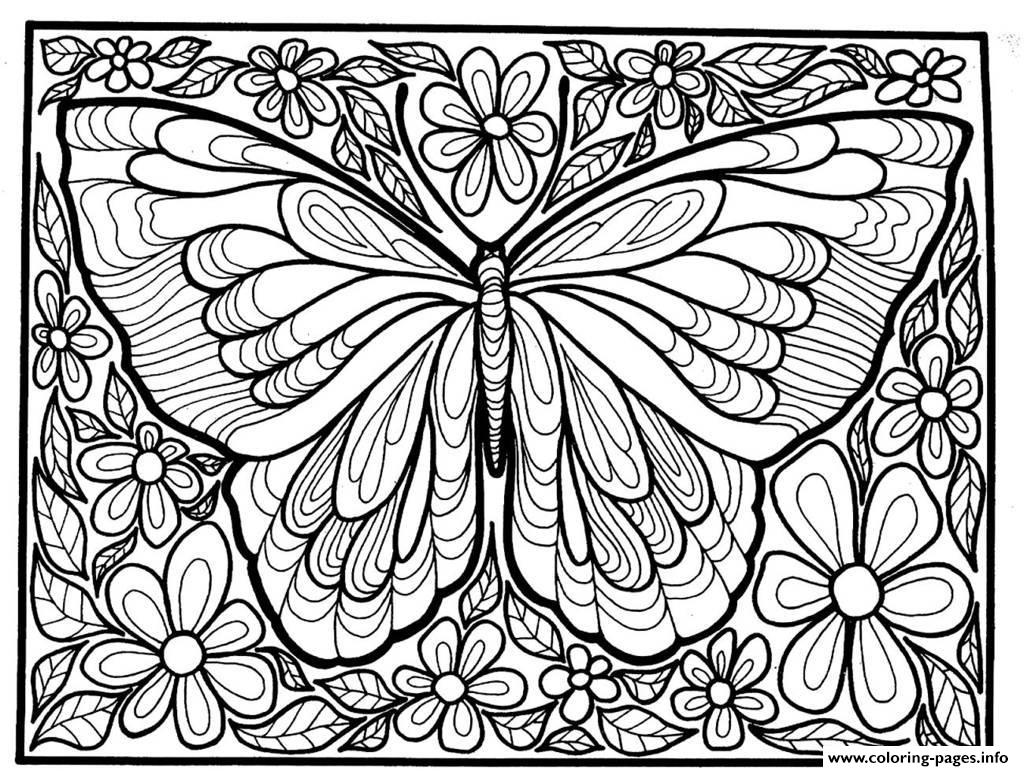 1024x771 Print Adult Difficult Big Butterfly Coloring Pages Mandala39s