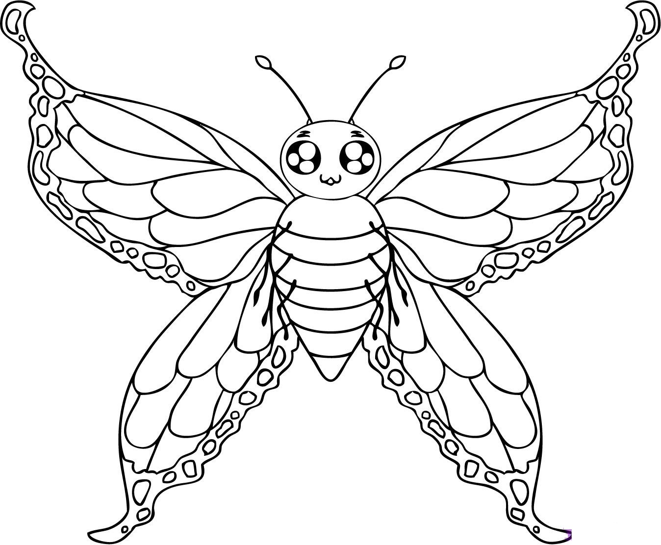 Butterfly drawing for children at free for Cute butterfly coloring pages