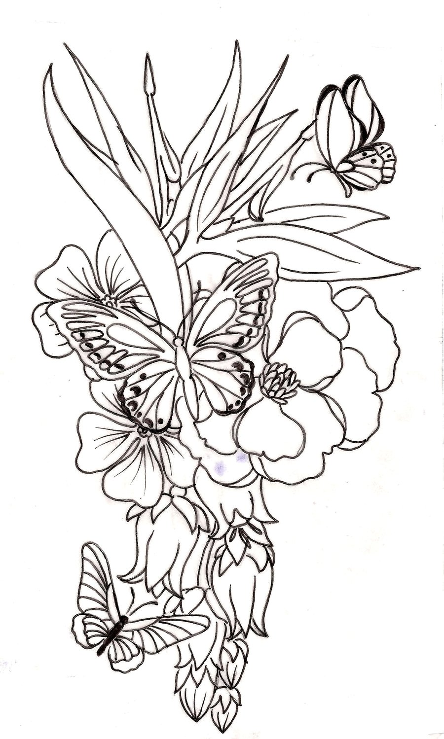 900x1499 Collection Of Red Flower N Butterflies Tattoo Design