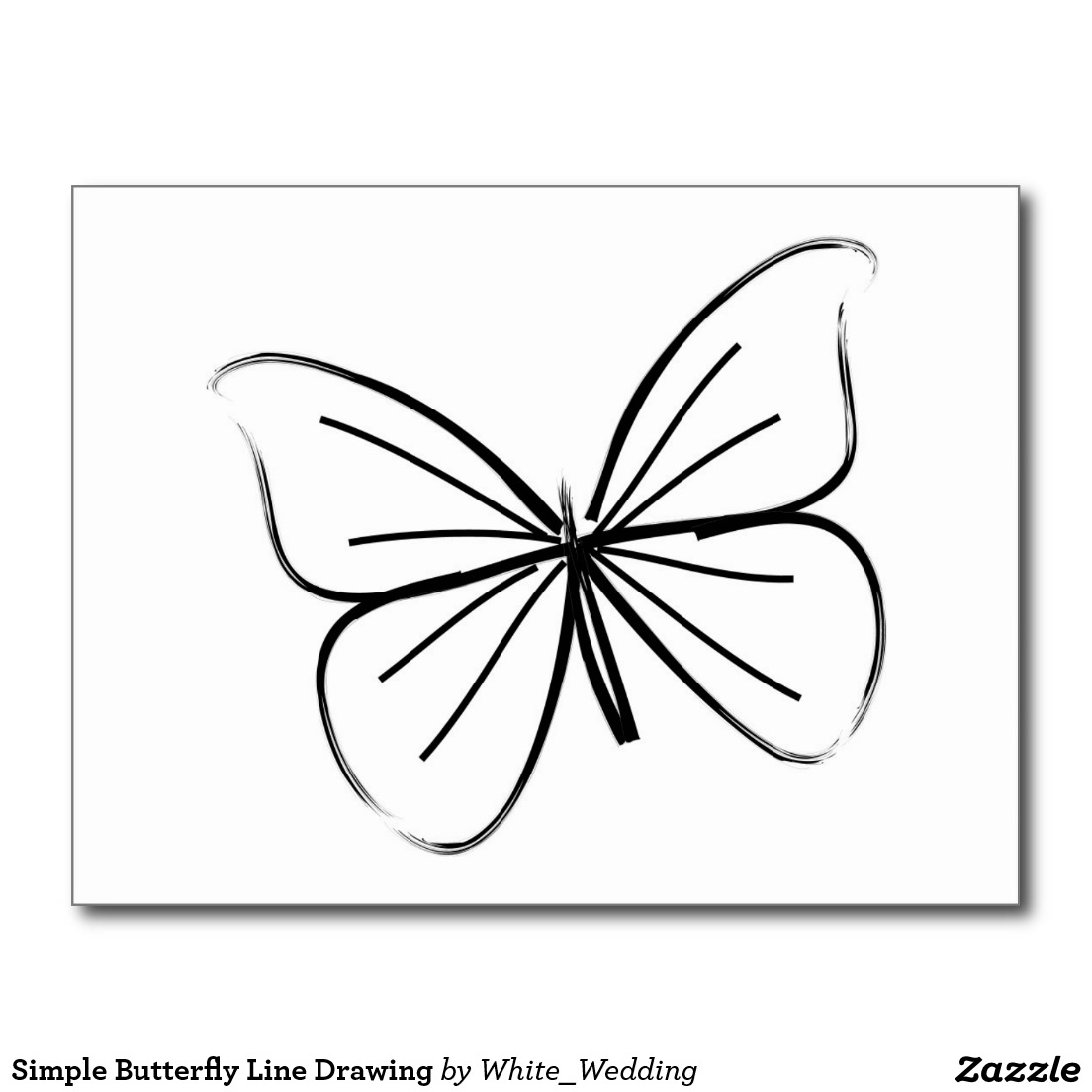 1104x1104 Simple Butterfly Line Drawing Postcard Motiifs