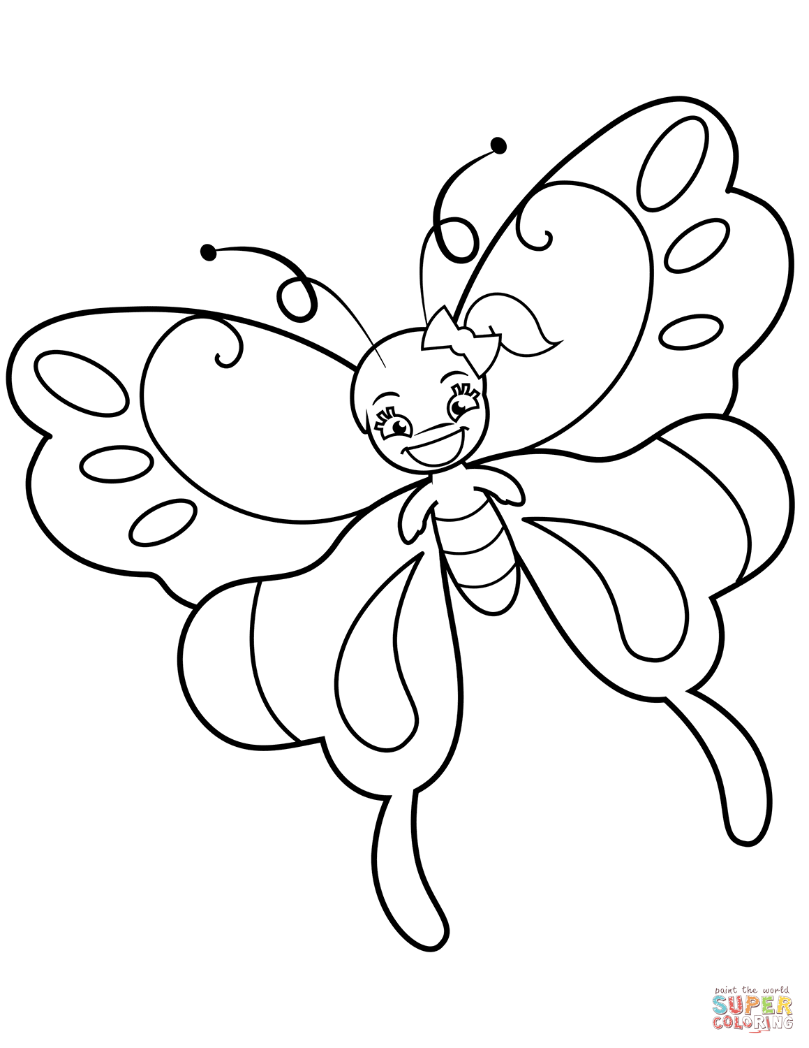 1159x1500 Cute Butterfly Girl With Ponytail Coloring Page Free Printable