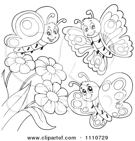 450x470 Butterfly With Flowers Coloring Pages Clipart Outlined