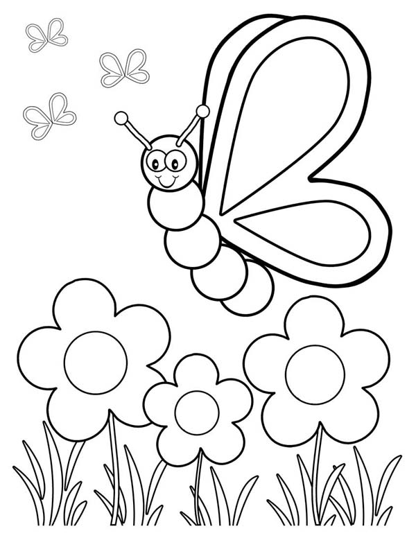 Butterfly In Garden Drawing at GetDrawings.com   Free for personal ...