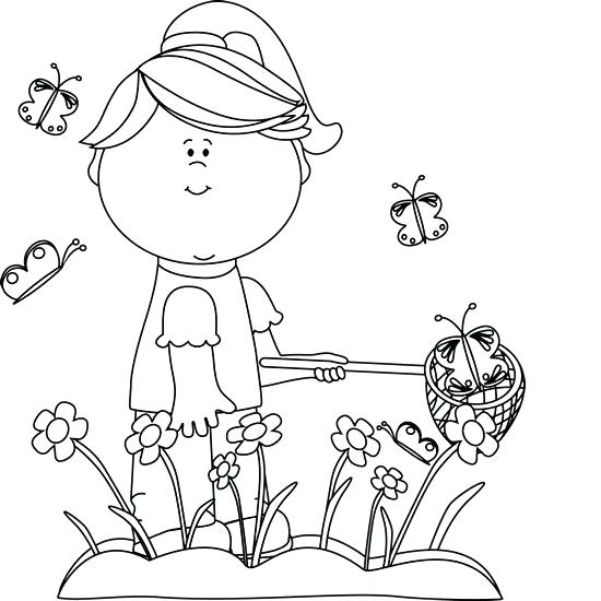 550x550 Garden Clipart Black And White Girl Catching Butterflies Clip Art
