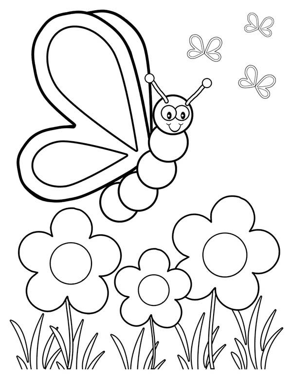 600x776 Spring Butterfly And Three Flower Coloring Page The