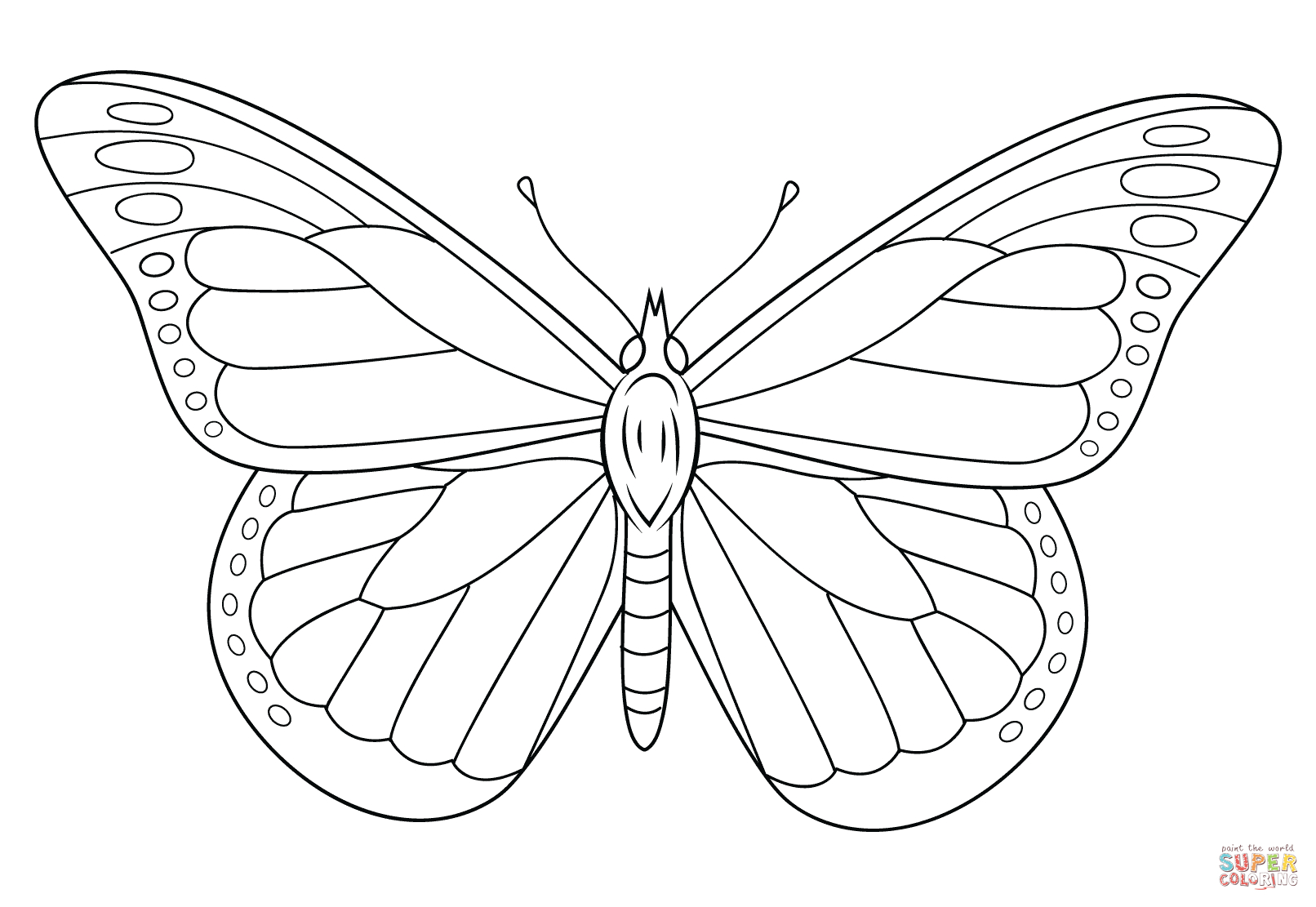 1612x1111 Monarch Butterfly Line Drawing Coloring Page