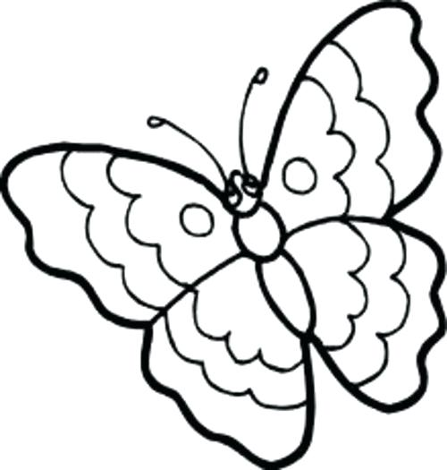 500x525 Butterfly Clip Coloring Page Cute Butterfly Line Drawing Butterfly