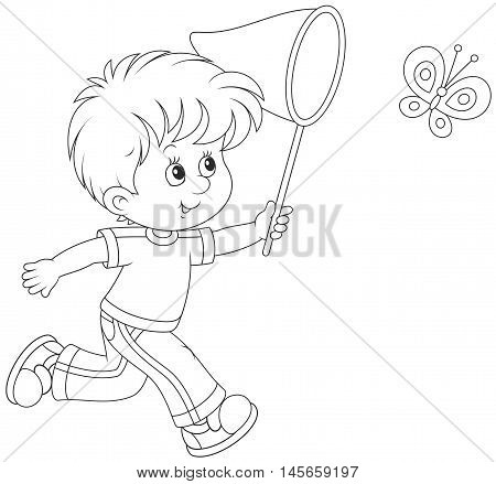 450x439 Little Boy Running Catching Flying Vector Amp Photo Bigstock
