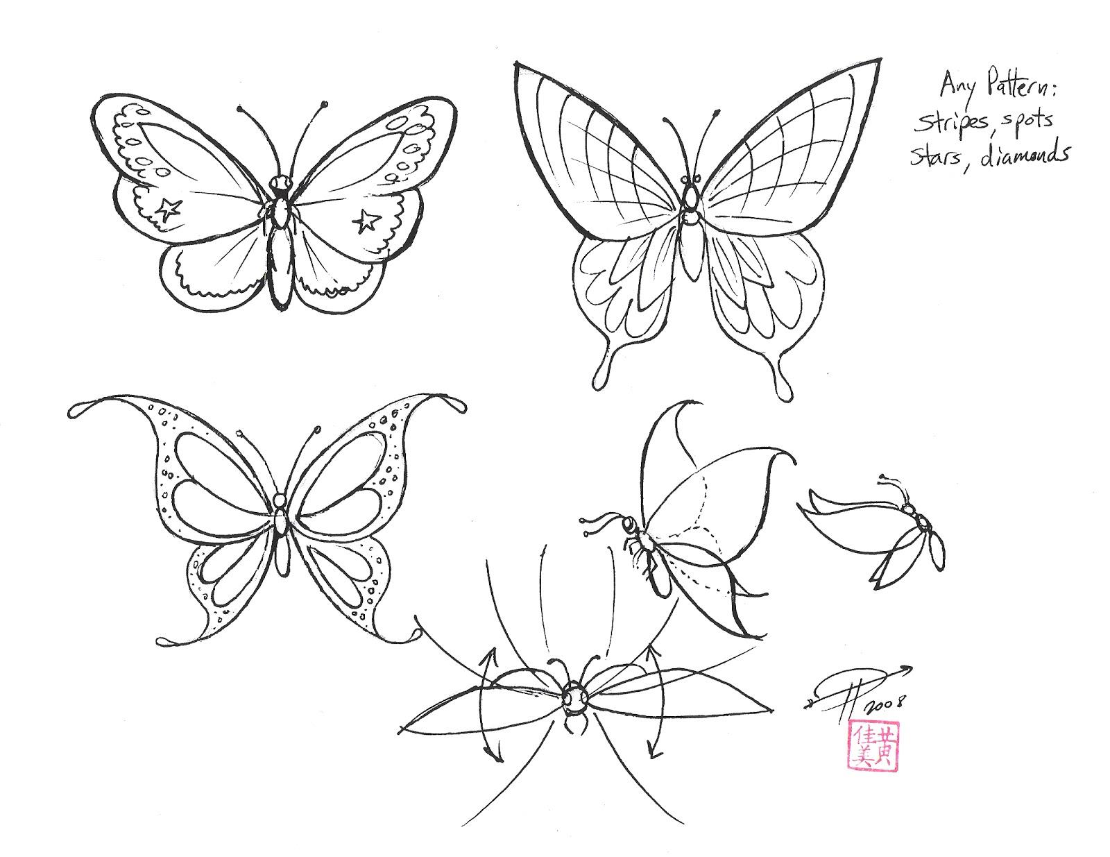 1600x1235 Flying Butterflies Drawings
