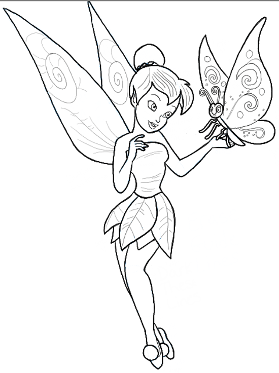 550x736 How To Draw Tinkerbell Holding A Butterfly With Easy To Follow