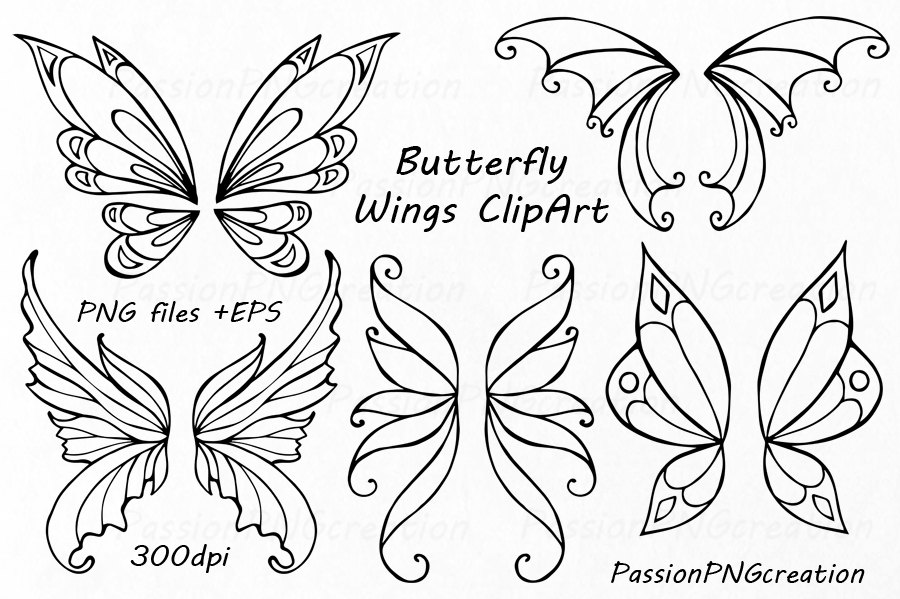 900x599 Butterfly Wings Clipart Doodle Wings Clip Art Hand Drawn