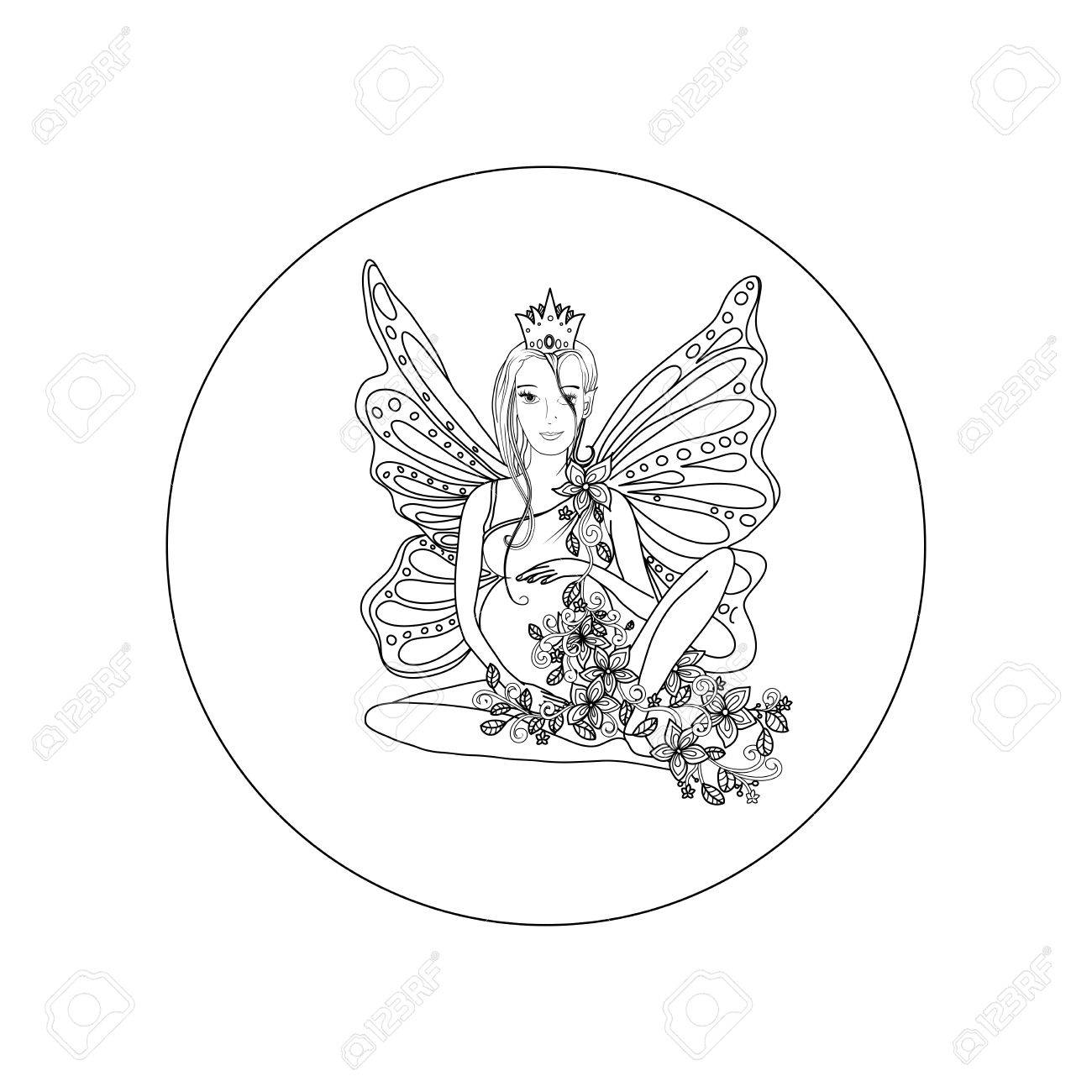 1300x1300 Adult Coloring Book Page With Fairy Pregnant Lady With Butterfly