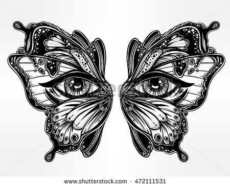 450x366 Beautiful Butterfly Wings Mask With Eyes In Retro Flash Tattoo