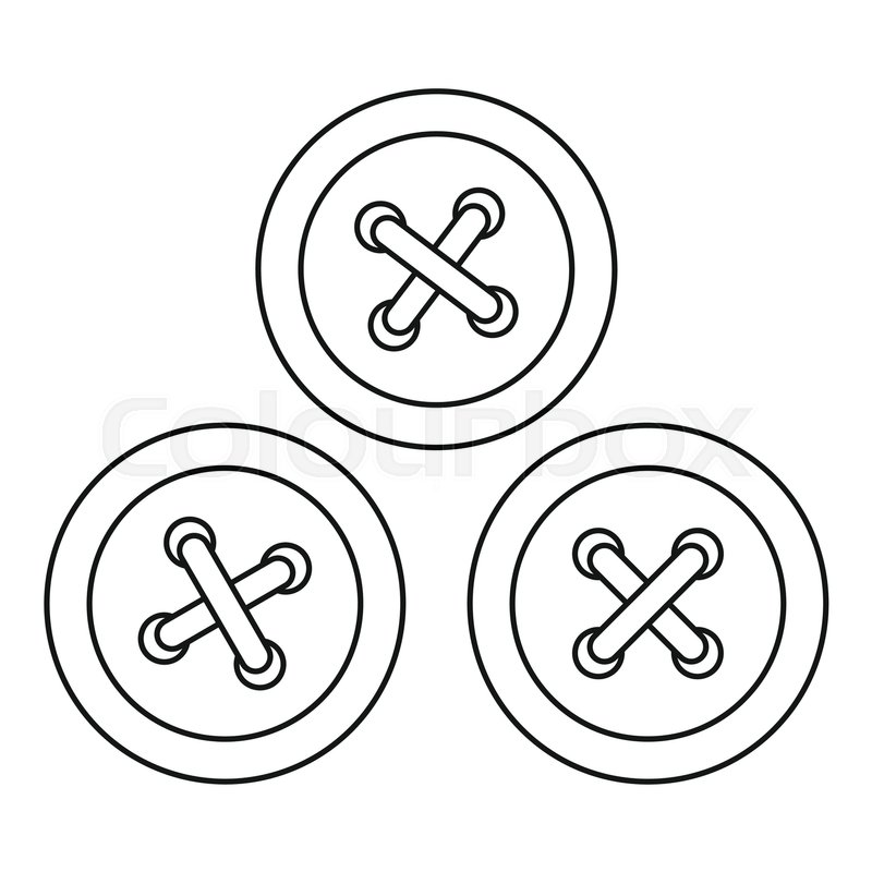 800x800 Buttons Sewing Icon. Outline Illustration Of Buttons