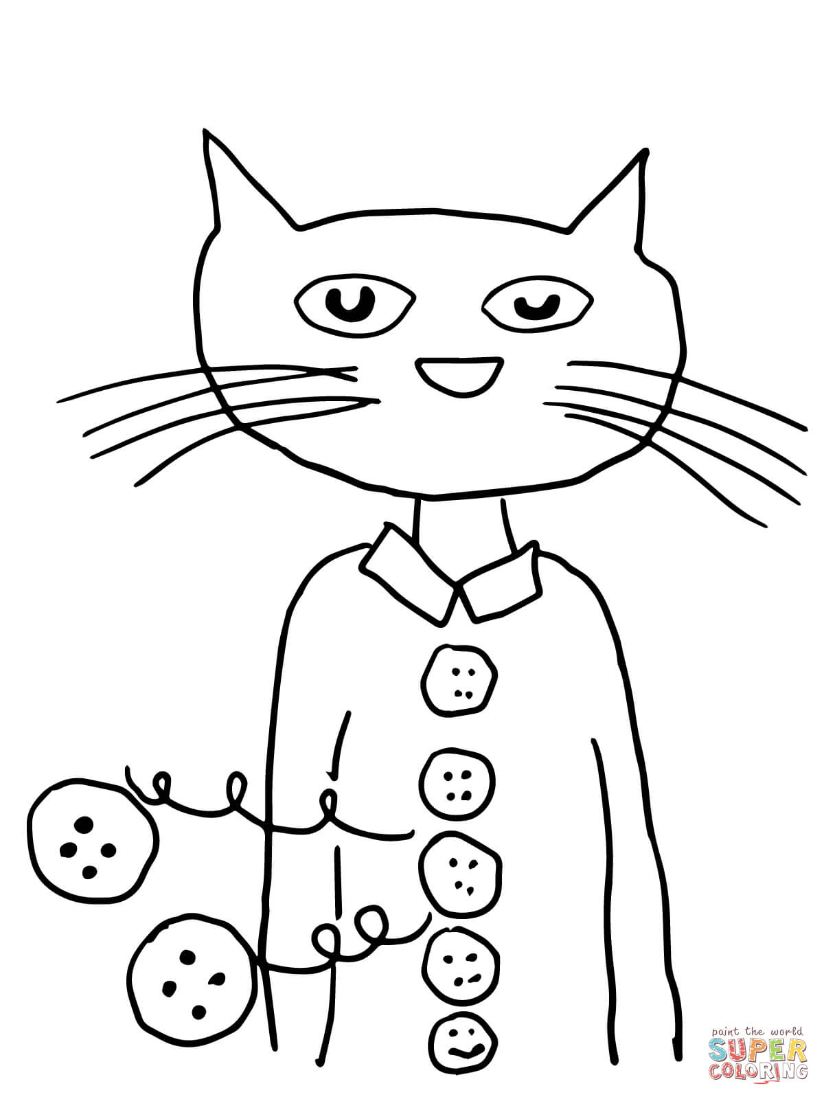 1200x1600 Pete The Cat Groovy Buttons Coloring Page Free Printable