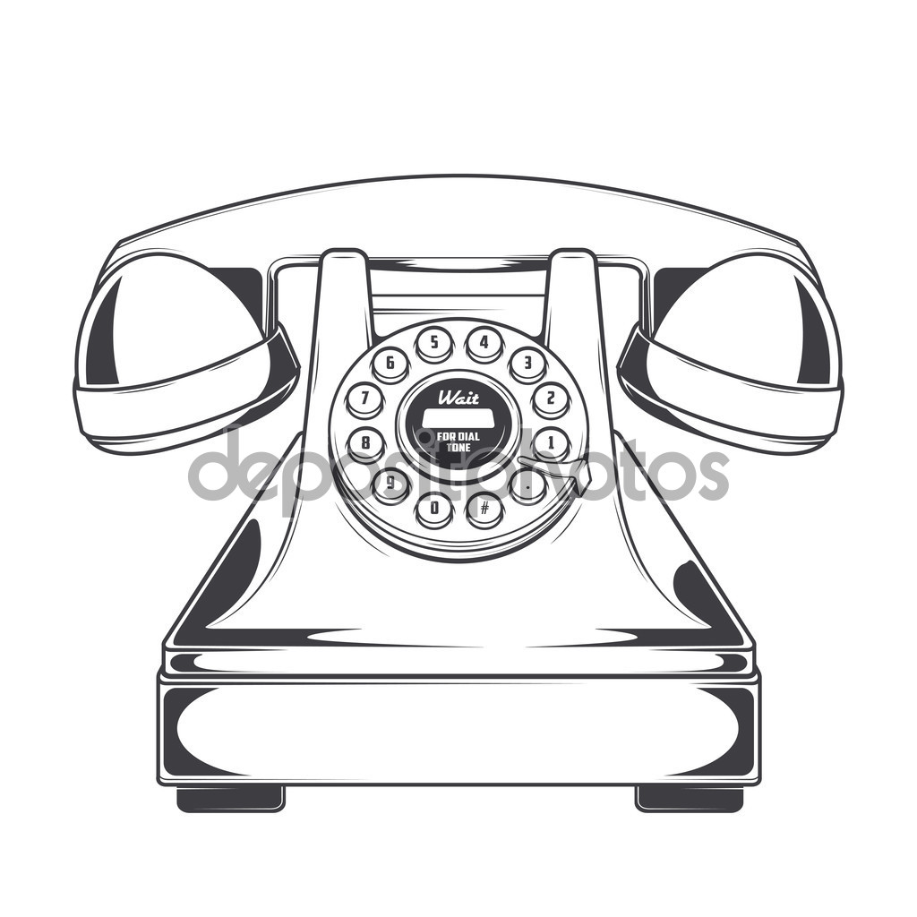 1024x1024 Vintage Phone With Buttons Dial Ring Isolated On A White