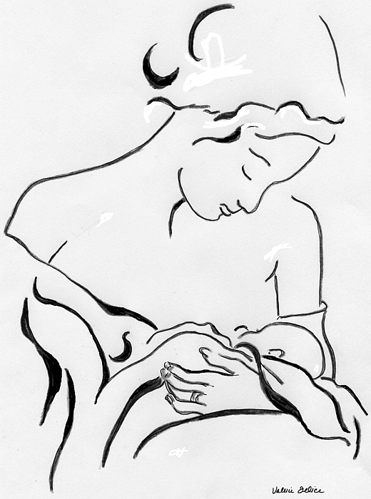 520x700 Mother And Child Drawing By Valerie Felice