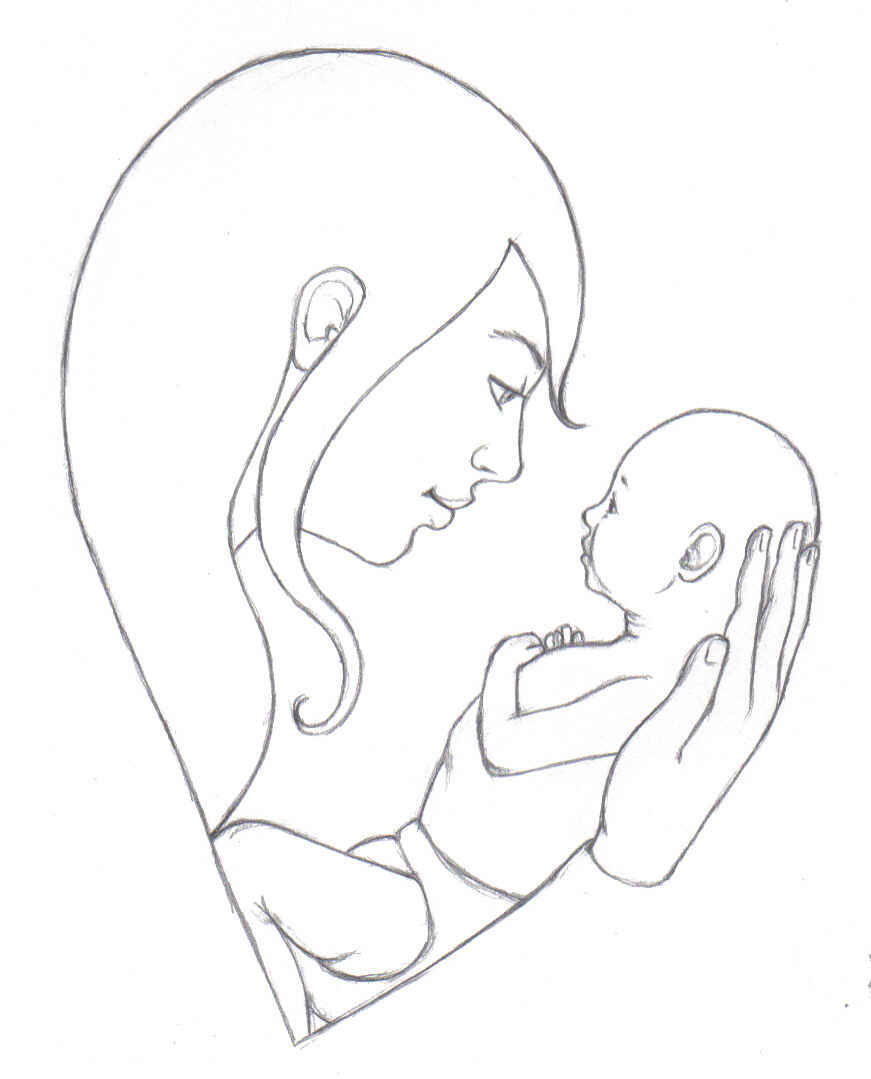 871x1079 Mother With Child Drawing Mother And Child Drawing Drawing