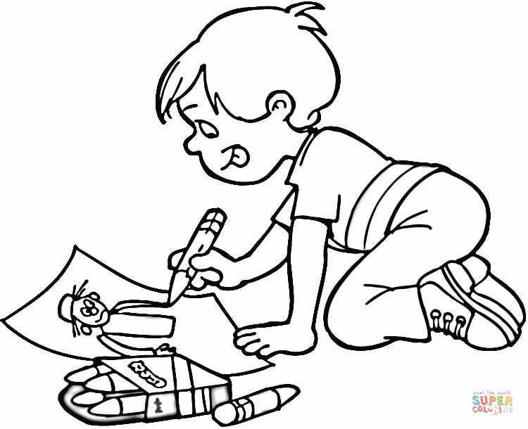 750x610 Little Boy Drawing A Masterpiece Coloring Page Free Printable
