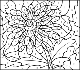 256x226 Difficult Color By Number Printables Gerbera