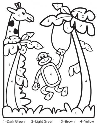 328x425 Coloring Pages Simple Color By Number