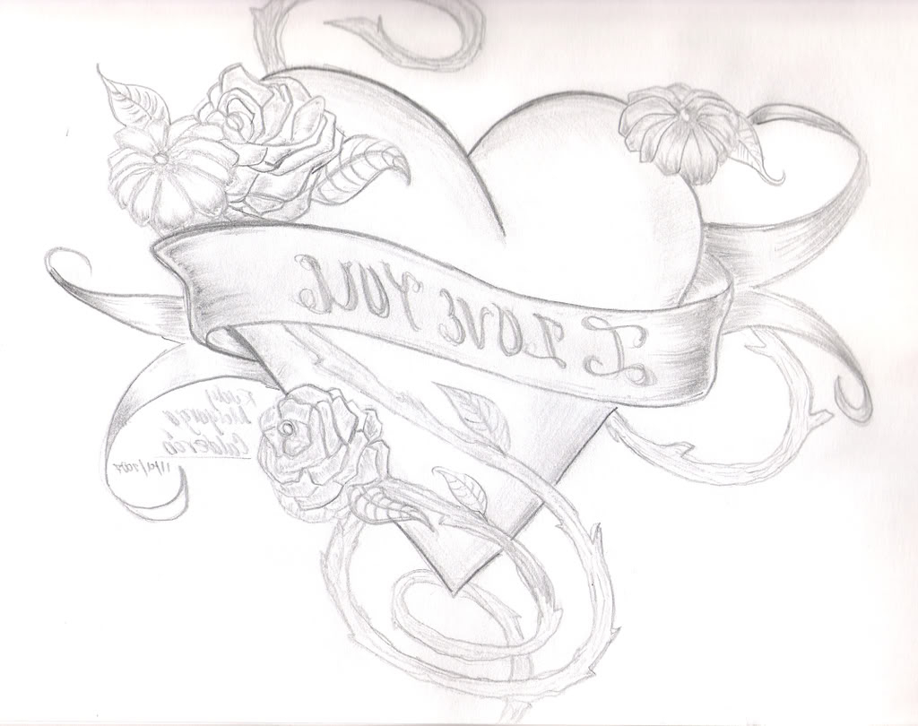 1024x810 Heart And Rose Drawings In Pencil Group