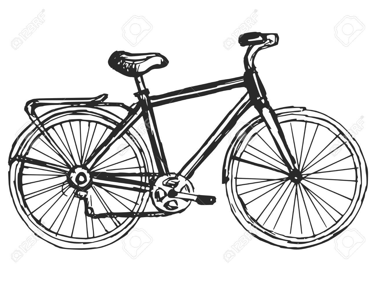 1300x974 Hand Drawn, Sketch, Cartoon Illustration Of Bicycle Royalty Free