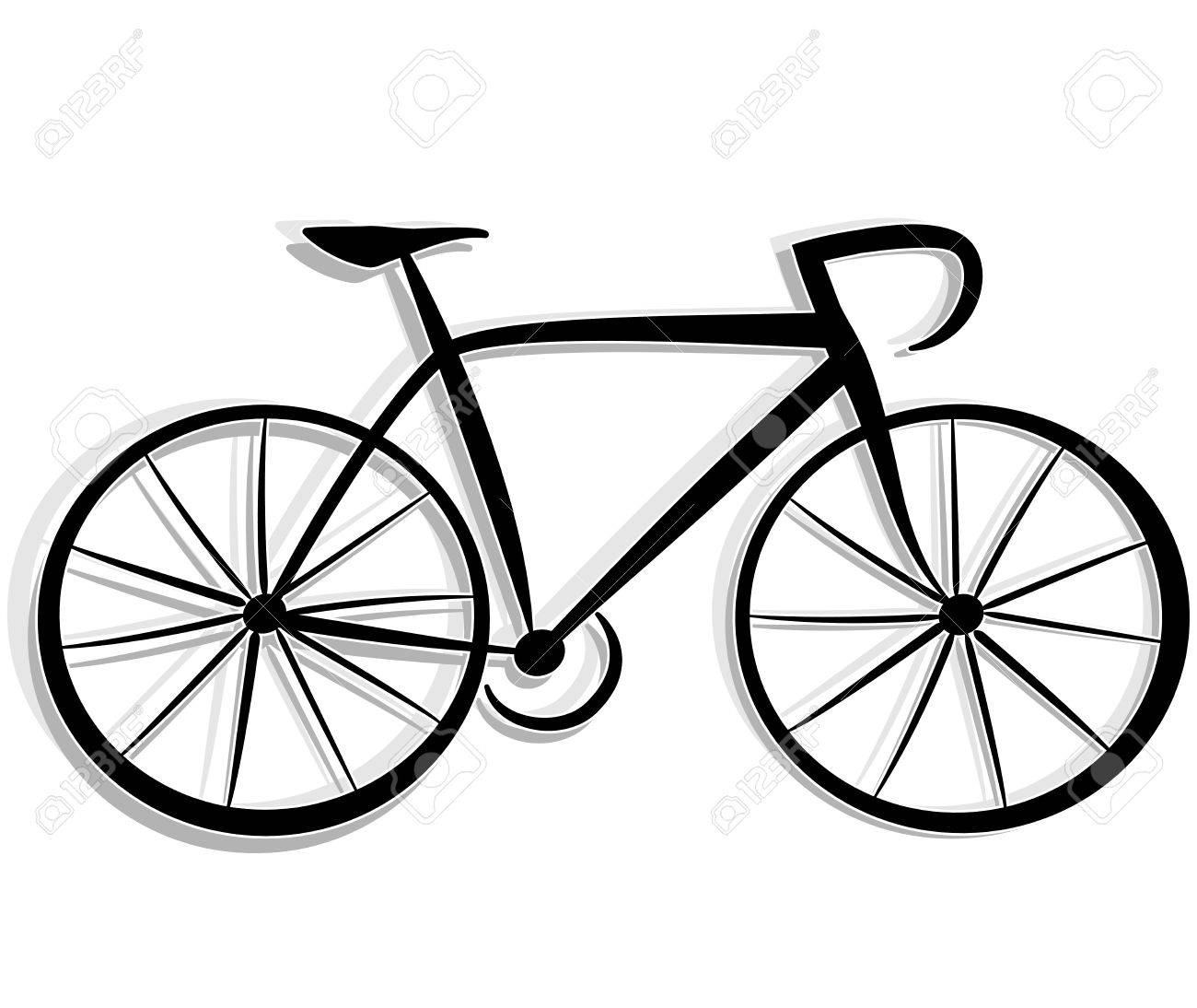 1300x1094 Illustration Of Bicycle Drawing On White Background Royalty Free