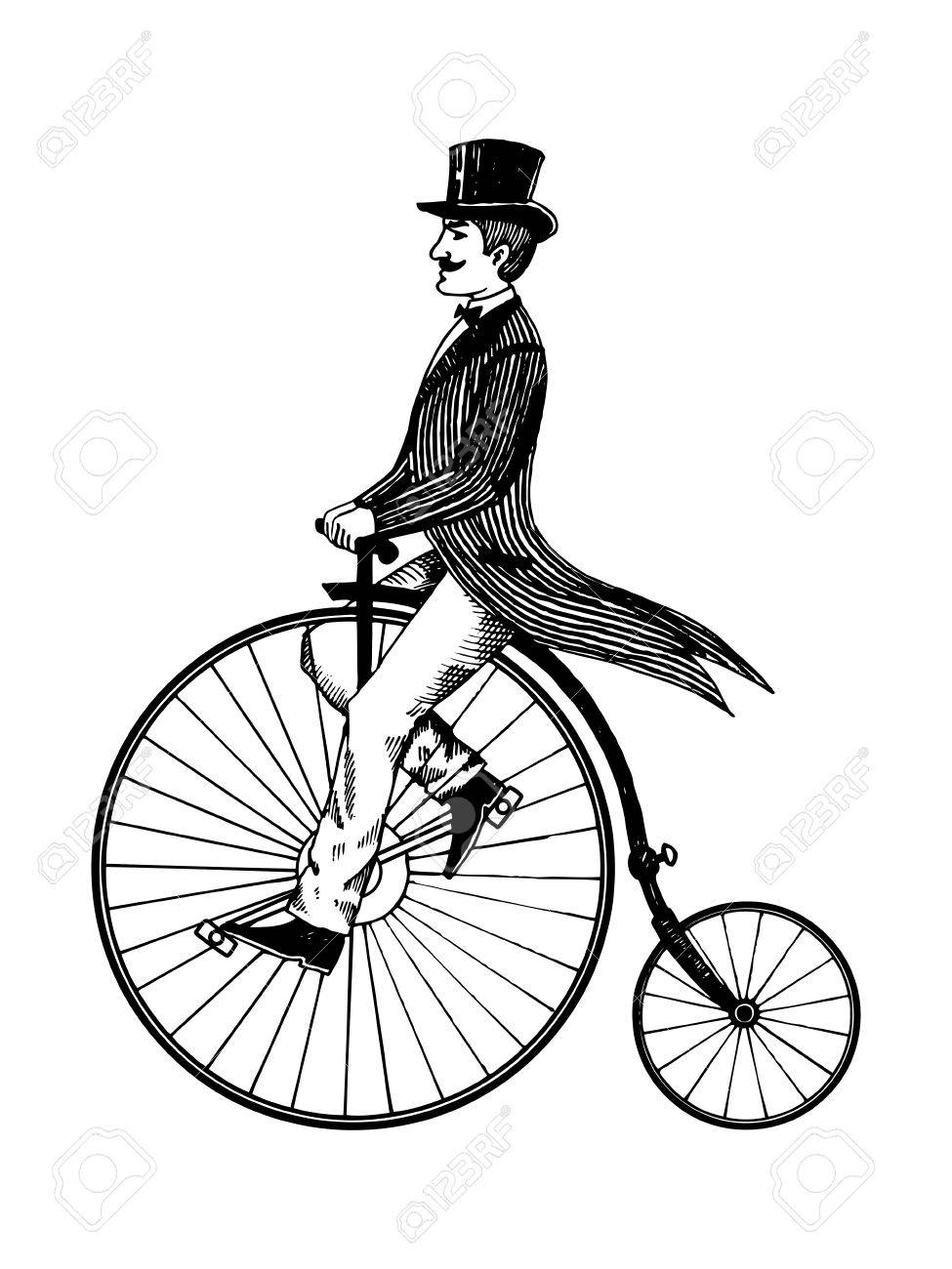 975x1300 Man On Retro Vintage Old Bicycle Engraving Vector Illustration
