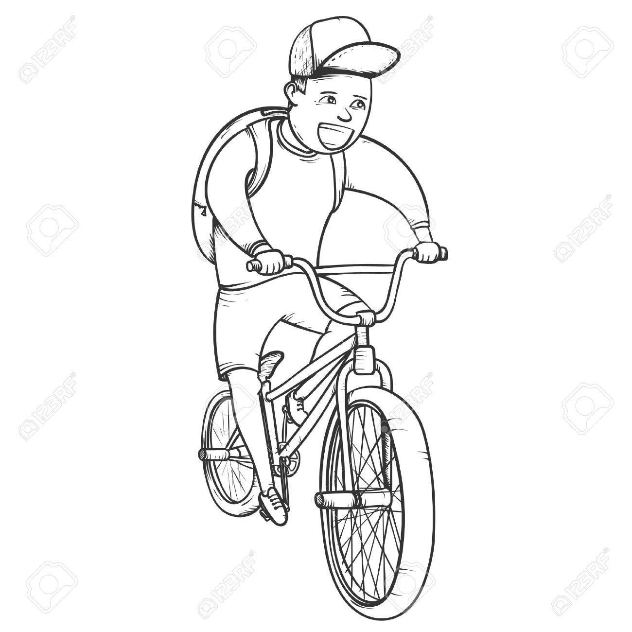 1300x1300 School Boy Riding Bmx Bycicle Hand Drawn Vector Illustration